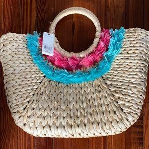 Vineyard Vines Straw Tassel Basket Bag